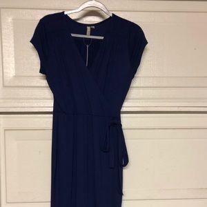 ASOS navy blue midi wrap dress